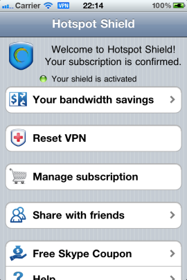 Hotspot Shield now protects iPhonesiPhone 5